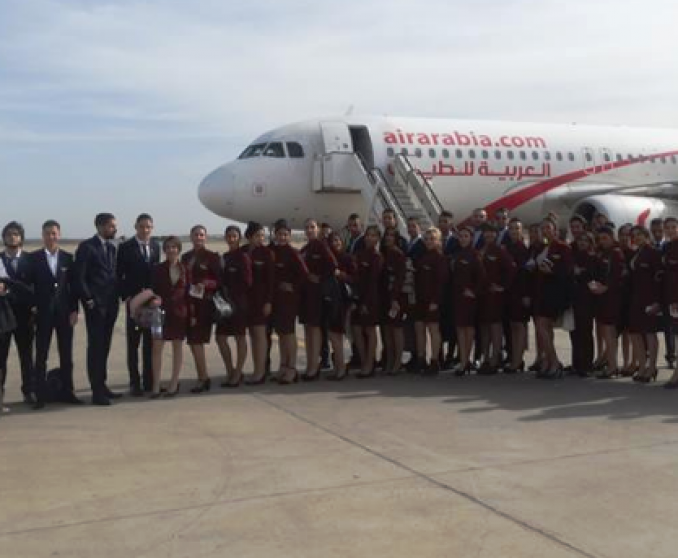 Students on-board Air Arabia Maroc.